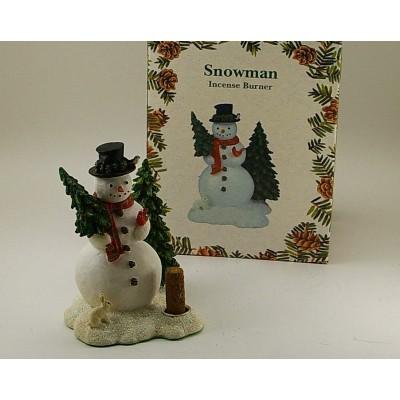 Brûleur d'encens bonhomme de neige avec bûche de sapin baumier