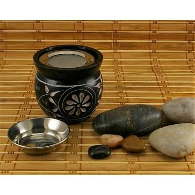 Brûleur d'encens en pierre à savon  pour encens en grain